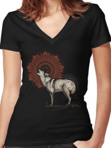 Wolf Totem Women's Fitted V-Neck T-Shirt