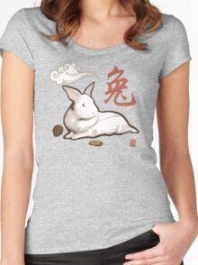 Lionhead Rabbit Sumi-E Women's Fitted Scoop T-Shirt