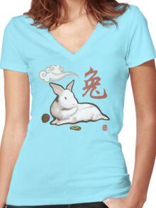 Lionhead Rabbit Sumi-E Women's Fitted V-Neck T-Shirt