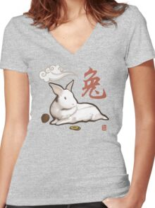 Lionhead Rabbit Sumi-E Women's Fitted V-Neck T-Shirt