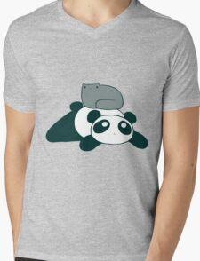 Panda and Gray Cat Mens V-Neck T-Shirt