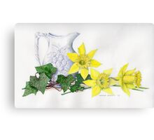 Stunning watercolor flowers and ivy Canvas Print