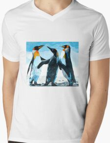 Three Penguins Mens V-Neck T-Shirt