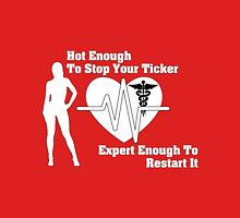 Hot Nurse Stops Your Ticker Womens Fitted T-Shirt