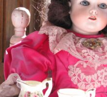 Antique Doll With Her Tea Set Sticker