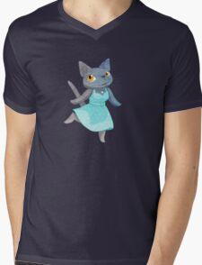 Cute Grey Kitty in Polka Dot Dress Mens V-Neck T-Shirt