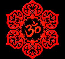 Red Lotus Flower Yoga Om by Jeff Bartels