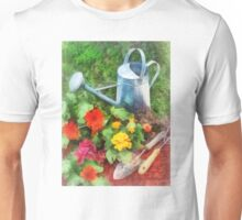 Zinnias and Watering Can Unisex T-Shirt