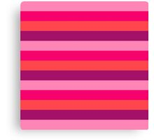 Strawberry & Cherry Pink Fashion Stripes for summer pattern { eco edition } Canvas Print