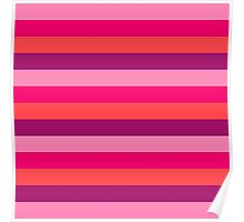 Strawberry & Cherry Pink Fashion Stripes for summer pattern { eco edition } Poster