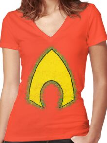 Superhero Spray Paint - Aquaman Women's Fitted V-Neck T-Shirt