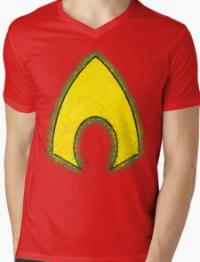 Superhero Spray Paint - Aquaman Mens V-Neck T-Shirt