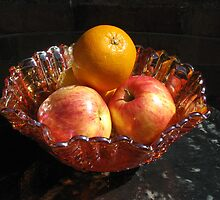 Sunlit Bowl of Apples and Oranges by VivianRay