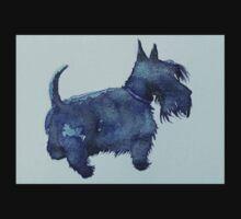 Scottie watercolour (blue) One Piece - Short Sleeve