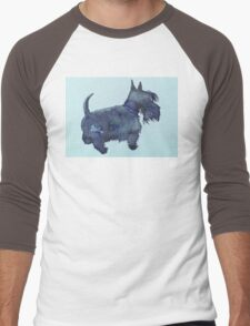 Scottie watercolour (blue) Men's Baseball ¾ T-Shirt