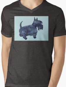 Scottie watercolour (blue) Mens V-Neck T-Shirt