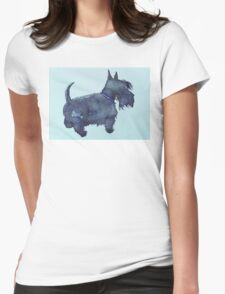 Scottie watercolour (blue) Womens Fitted T-Shirt