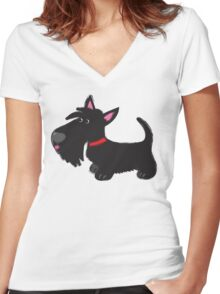 Scottie pup Women's Fitted V-Neck T-Shirt