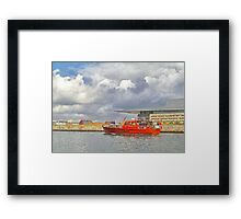 Cabin Cruiser and the Copenhagen Opera House Framed Print