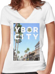 Ybor Palm & Sky Women's Fitted V-Neck T-Shirt