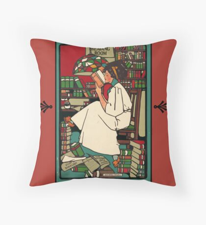 Reading Room Woman Throw Pillow