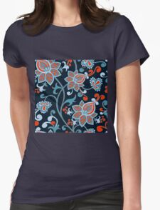 Red Blue Vintage Floral Wallpaper Womens Fitted T-Shirt