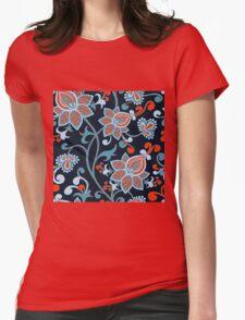 Red Blue Vintage Floral Wallpaper T-Shirt