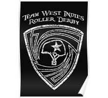 Team West Indies Distressed Logo in White Poster