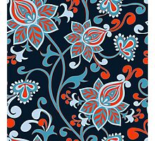 Red Blue Vintage Floral Wallpaper Photographic Print