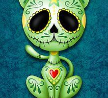 Green Zombie Sugar Kitten Cat by Jeff Bartels