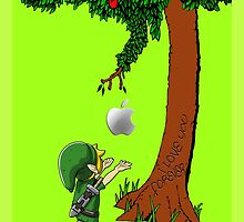Cute Link Zelda with an Apple tree by threesecond