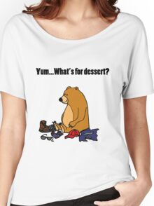 Cool Funny Brown Bear Ate Hiker Cartoon Women's Relaxed Fit T-Shirt