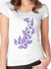 Purple Floral and Leaves Print Women's Fitted Scoop T-Shirt