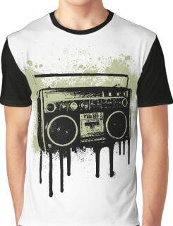 Portable Stereo Splatter Graphic T-Shirt