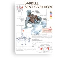 Barbell Bent-Over Row Diagram Canvas Print