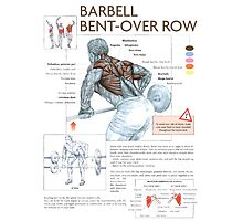 Barbell Bent-Over Row Diagram Photographic Print