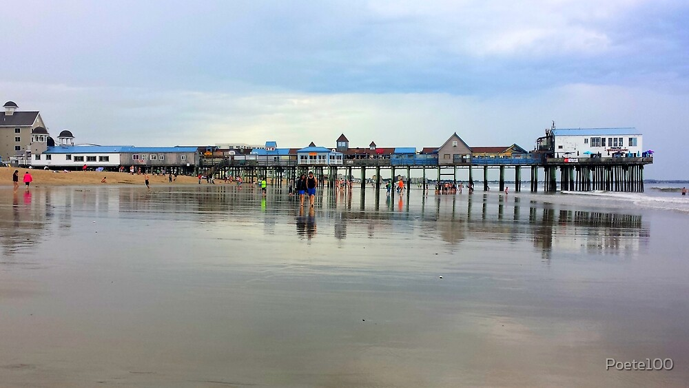 The Pier at Old Orchard Beach...full length & reflections  by Poete100