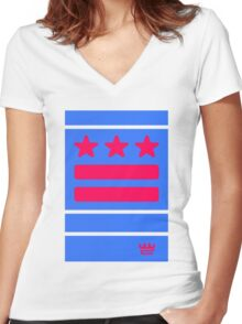 DC Represent (blue) Women's Fitted V-Neck T-Shirt