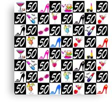 50 AND FABULOUS PATTERNED DESIGN Canvas Print