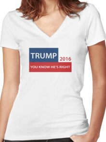 Trump 2016 You know he's right  Women's Fitted V-Neck T-Shirt