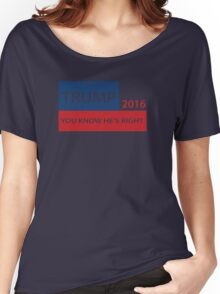 Trump 2016 You know he's right  Women's Relaxed Fit T-Shirt