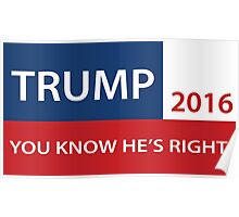 Trump 2016 You know he's right  Poster
