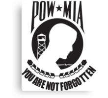POW MIA Black Text Canvas Print