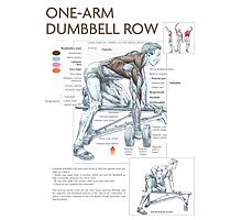 One-Arm Dumbbell Row Diagram Photographic Print