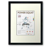 Barbell Power Squat Exercise Diagram Framed Print