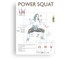 Barbell Power Squat Exercise Diagram Canvas Print