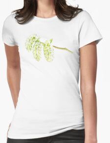 Green willow catkin watercolor painting Womens Fitted T-Shirt