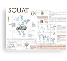 Barbell Squat Exercise Diagram Canvas Print