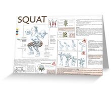 Barbell Squat Exercise Diagram Greeting Card