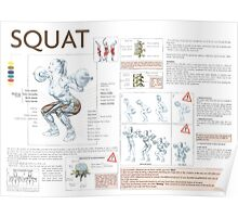 Barbell Squat Exercise Diagram Poster